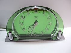 VINTAGE ENGLISH ART DECO SMITHS SECTRIC GREEN GLASS MANTEL CLOCK WOW! #ArtDeco #SmithsEnglishClockSystems