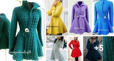 Precioso Abrigo para Mujer a Crochet Knitted Hats, Alice, Dresses With Sleeves, Long Sleeve, Sweaters, Fashion, Knitting Hats, Scarves, Jackets
