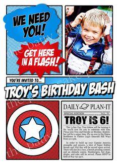 love the idea for an invite Avengers Birthday, Superhero Birthday Party, Boy Birthday Parties, Birthday Fun, Birthday Ideas, Captain America Party, Captain America Birthday, Hulk Party, Batman Party