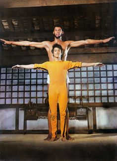 "Bruce Lee and Kareem Abdul Jabbar on the set of ""Game of Death""."
