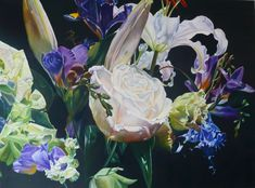Singing the Blues - Oil on linen, 1.20 x 90cm SOLD Gallery, Floral, Artist, Plants, Singing, Blues, Oil, Roof Rack, Flowers