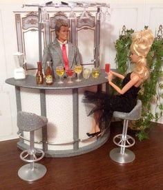 OOAK Furniture Set Barbie Ken Fashion Doll 1/6 Scale Adult Diorama Bar Lot in Dolls & Bears, Dolls, Barbie Contemporary (1973-Now) | eBay