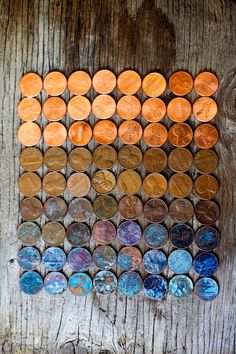 US pennies in progressive stages of oxidization.