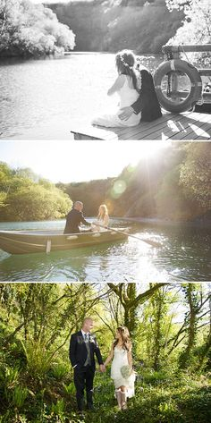 Romantic Rustic Country lake canoe bride groom woods wedding portrait picture ideas.