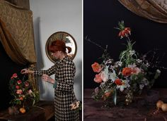 photos of floral arrangements made in the style of the dutch masters, and then staged for photographs to make them look like dutch masters' paintings. cheeky monkeys :)