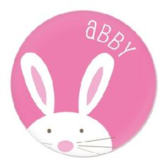 Personalised Bunny Plate Pink - $34.95 - These super cute melamine plates will be a big hit in your kids' Easter baskets or at the table for Easter brunch! #sweetcreations #kids #girls #dinnertimeisfun #personalised #dinner #gifts