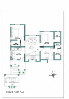 Kerala Modern House Floor Plans Contemporary Kerala House Plan at 2000 Sq Ft Modern House Floor Plans, Home Design Floor Plans, New House Plans, Small House Plans, Cottage Style House Plans, Southern House Plans, Craftsman Style House Plans, House Plans 2 Storey, Square House Plans