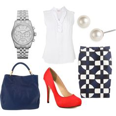 A fashion look from September 2012 featuring slim fit shirts, j. crew skirts and platform pumps. Browse and shop related looks.