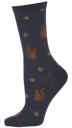 Women's Novelty Boutique Crew Sock From Socksmith Designs - Squirrels