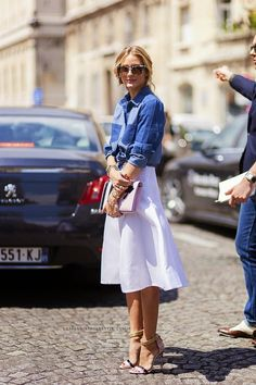 Fashion Inspiration by Olivia Palermo - white midi skirt, denim shirt, printed sandals