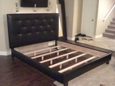 King Or Cal King Black Button Tufted Headboard And Bed Frame