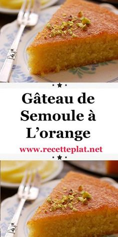 Gâteau de Semoule à L'orange This cake looks like nothing but I can tell you: it's an explosion in the mouth. An explosion of freshness, thanks to the orange, which invades your taste buds, tickles your palate and fills you with gustatory joy. Fall Dessert Recipes, Delicious Desserts, Breakfast Recipes, Breakfast Casserole, Savory Bread Puddings, Semolina Cake, Desserts With Biscuits, Easy Chocolate Desserts, Bakery Recipes