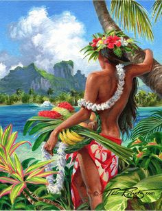 Art Tropical, Art Plage, Arte Do Hip Hop, Hanya Tattoo, Polynesian Art, Hawaiian Art, Hula Girl, Vintage Hawaii, Surf Art