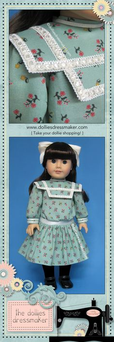 """Green print dress for American Girl doll Samantha inspired by illustration in the book """"Samantha Learns a Lesson: A School Story"""" (ORIGINAL VERSION) 