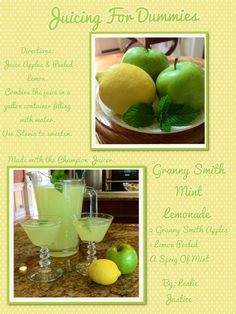 Granny Smith Mint Lemonade on a hot August Day.