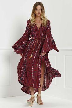 Bell Sleeve Tribal Pattern Print Dress RED: Long Sleeve Dresses   ZAFUL