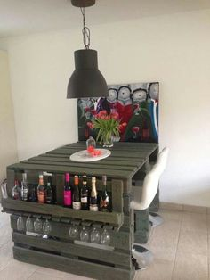 Recycled items dont have to look rustic. This is a great contemporary, and functional table/bar. Looks great!