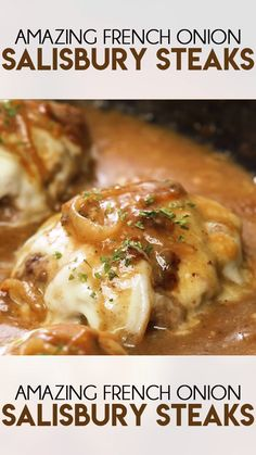 Onion Salisbury Steak - French Onion Salisbury Steak is a delicious take on a classic dinner recipe! This comfort food is -French Onion Salisbury Steak - French Onion Salisbury Steak is a delicious take on a classic dinner recipe! This comfort food is - Salisbury Steak Recipes, French Onion Salisbury Steak Recipe, Salisbury Steak Recipe Pioneer Woman, Pioneer Woman Meatloaf, Homemade Salisbury Steak, Salisbury Steak Meatballs, Meatballs And Gravy, Crock Pot Meatballs, Steak Recipes