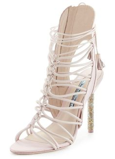a7684166573d Lacey Crystal Bridal Sandal by Sophia Webster. Sophia Webster shimmery  fabric and leather sandal from