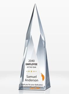 Featuring sharp lines and clean cuts, this Crystal Summit Employee of the Year Award Plaque is an excellent choice to recognize top achievers for outstanding performances. Employee Awards, Corporate Awards, Recognition Awards, Employee Recognition, Award Plaques, Crystal Awards, Service Awards, Excellence Award, Workplace