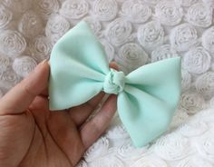 4.25 pastel green fabric hair bow clip light by TwinkleMingle, $4.49