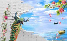 3D кирпичной стены фон живопись Павлин приморский пейзаж Пейзаж обои фрески papel parede настенные обои