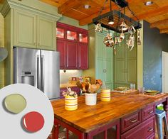 At opposite (and complementary) ends of the color spectrum, Lady Bug Red and Grasslands by Benjamin Moore are warmed up by the wood tones on the island, floor and ceiling in this country kitchen. Photo: Jeffrey Volker. | thisoldhouse.com