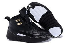 Youth Basketball Shoes 2018 2018 Newest Kids Air Jordan 12 XII The Master  Poster Wing Black Navy Blue e96bb72faea