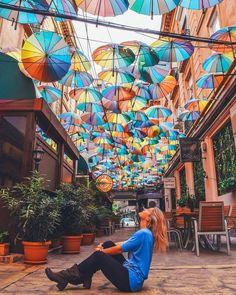 The colourful umbrella street in front of Pizza Colosseum in Bucharest, Romania Travel Tips For Europe, Travel Around Europe, Ways To Travel, Travel Destinations, Travel Jobs, European Destination, European Travel, Euro Travel, Romania Travel