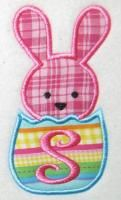 Easter Bunny Chick with Egg Applique Embroidery Design.