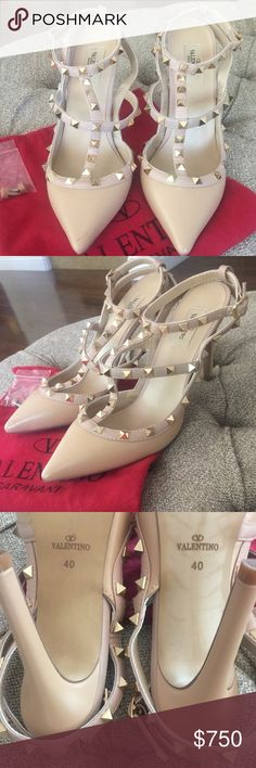 Valentino Rockstud heels These shoes were literally worn ONCE. There is a slight scratch on the left heel on the tip, it's an easy fix. I don't have the box unfortunately but info have the dust bag and replacement heel as shown in picture Valentino Shoes Heels