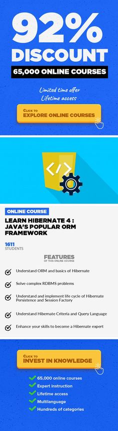Learn Hibernate 4 : Java's Popular ORM Framework Programming Languages, Development #onlinecourses #onlinetrainingexercise #onlinecoursesLearn the hottest, most in-demand Java ORM framework Hibernate 4  with simple-to-follow and easy-to-understand course ***** Course Last Updated on Nov 11, 2016 ***** Update: Section 9: Hibernate Query Language (HQL) added on Nov 11, 2016 Learn Hibernate 4 : Ja...
