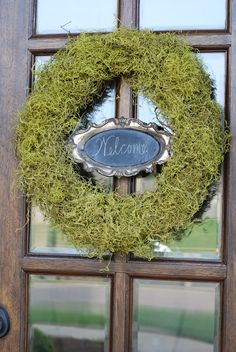 Spanish moss wreath with silver chalkboard tray.