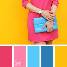 blue, blue clutch, bright pink, bright yellow, canary yellow, cyan bag, little bag, little pink dress, pink dress, warm yellow.