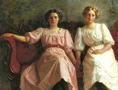 """""""Yvonne Tuxen and Vibeke Kroyer,"""" 1909 -- by Laurits Tuxen -"""