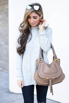 992c0da45ed Chloe Marcie · Fashion blogger The Darling Detail wears Topshop Oversized  Funnel Neck Sweater, FRAME 'Le High