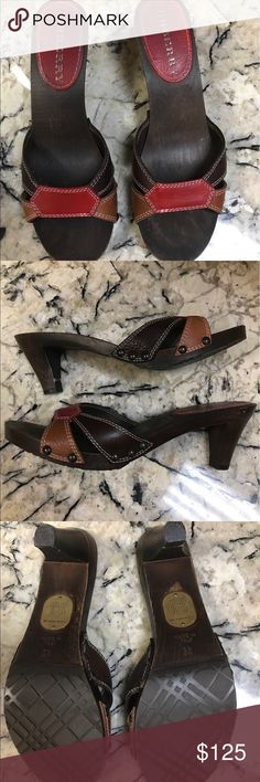 Burberry Leather Mules Size 8-8.5 Wood & leather red, tan, & brown open toed mid heel shoes. Worn once..Excellent condition. Perfect for Spring & Summer! Burberry Shoes Mules & Clogs