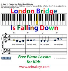 Learn how to play London Bridge Is Falling Down, free tutorial comes with Flash demo animations.  Fun learning! Free Piano Lessons, Piano Lessons For Beginners, Lessons For Kids, Music Lessons, How To Play Tennis, Keyboard Lessons, Free Sheet Music, London Bridge, Music Theory