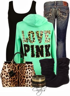 see more Green Sports Hoodie with Black T-Shirt, Jeans, Leopard Handbag, Boots and Accessories