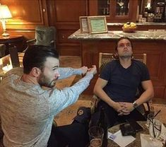 Two 30 something men playing with an invisible light saber. Sebastian Stan and Chris Evans Sebastian Stan, Avengers Cast, Marvel Avengers, Marvel Funny, Marvel Memes, Steve Rogers, Bucky And Steve, Dc Movies, Movie Characters