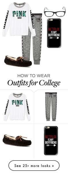 """""""Outfit #831"""" by mbvs on Polyvore featuring Victoria's Secret PINK, Victoria's Secret, UGG Australia, Ray-Ban and Casetify"""