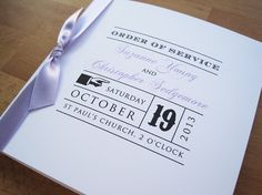 Vintage Love Order of Service in white and lilac.