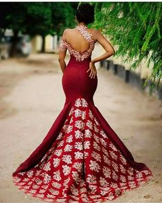 New Arrival Ivory Lace Burgundy One Shoulder Mermaid Long Evening Prom Dresses Party Gowns… – African Fashion Dresses - African Styles for Ladies African Prom Dresses, African Wedding Dress, African Dresses For Women, African Attire, African Wear, African Fashion Dresses, African Style, Fashion Outfits, Fashion Art