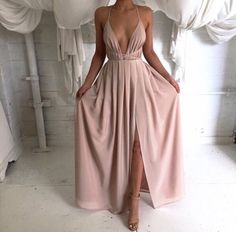 long flowy nude prom evening floor length gown lil bit of cleavage nude shoes