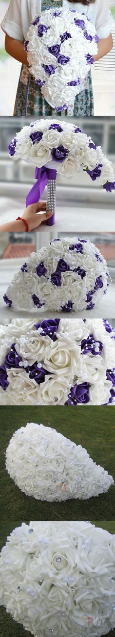 Real Touch Brides Rose Wedding Flowers Teardrop Cascade Bridal bouquet With Diamantes and Pearls Stunning Wedding Bouquet FW203 $29.5