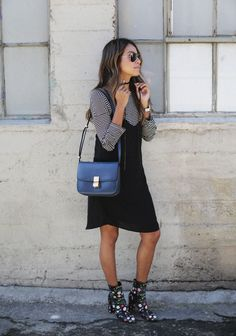 How to wear a slip dress  [ #slipdress #stripes #flower #booties ]