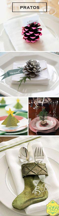 Decorando os pratos http://vilabacana.com.br/inspiracao/decorando-mesas-para-o-natal/