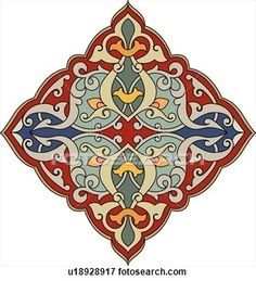 Red, green, blue and orange diamond shaped Arabesque Design View Large Clip Art Graphic