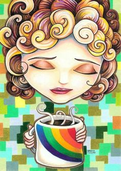 "giclee prints, art prints, illustration, woman with coffee cup; ""Abigail April"" by Bryan Collins Coffee Talk, Coffee Girl, I Love Coffee, My Coffee, Morning Coffee, Coffee Cups, Coffee Break, Coffee Corner, Coffee Lovers"