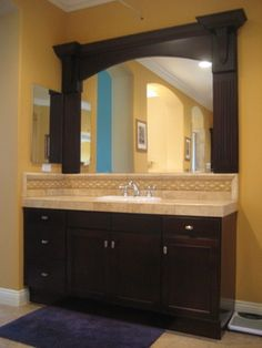 Refinished Vanity with Custom Mirror Frame traditional bathroom